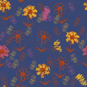 Scribbled Flower Garden in Blue