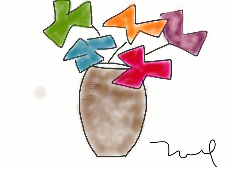 Abstract Flowers in Vase Digital Art - Noel's Digital Art