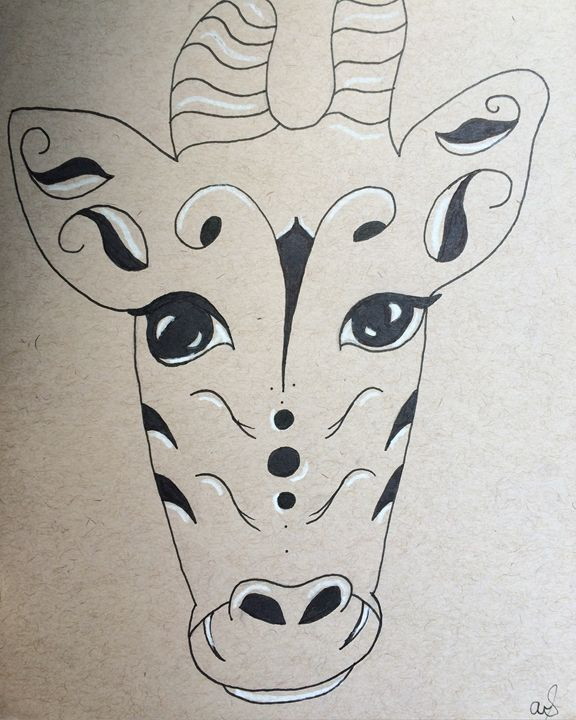 Ink and white charcoal giraffe - Abby's Art For Sale
