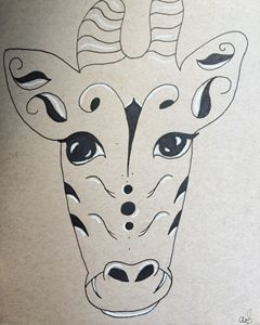 Ink and white charcoal giraffe