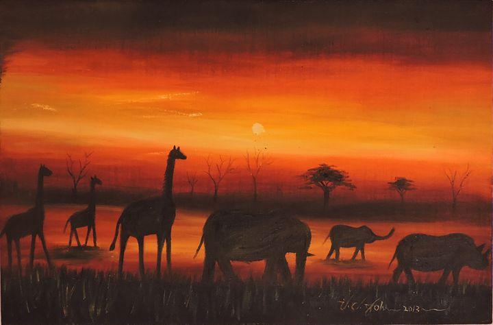Red sunset in the savannah - I C John
