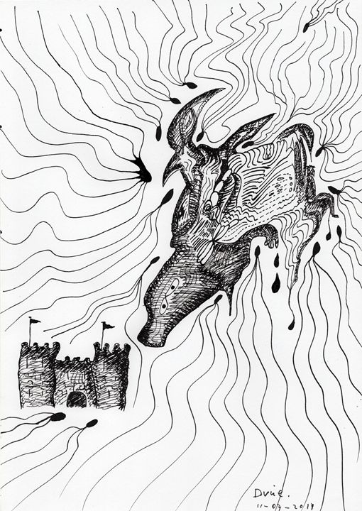 Cow And Castle - Darkvine Art - Drawings & Illustration, Religion