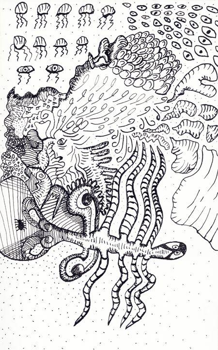 Psychedelic Dip Pen Doodle - Darkvine Art