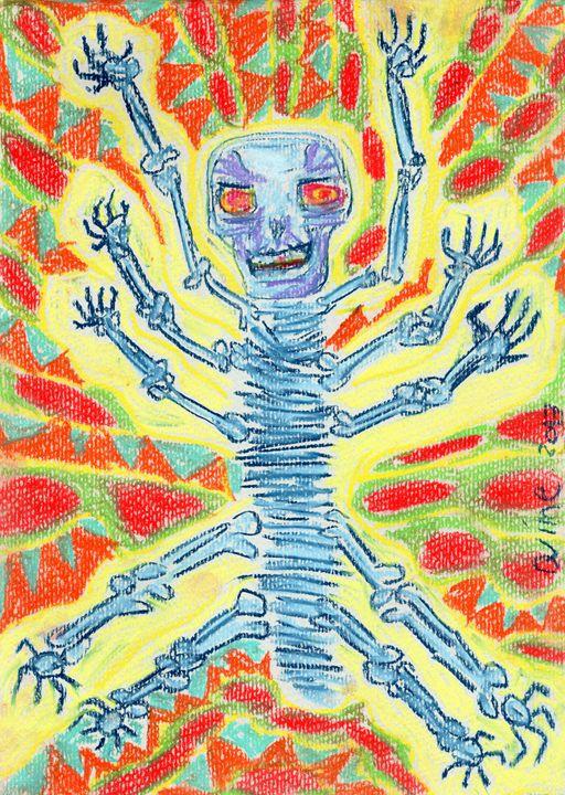 Laughing Skeleton At Center Universe - Darkvine Art
