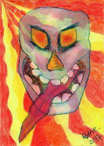 Psychedelic Laughing Skull. - Darkvine Art