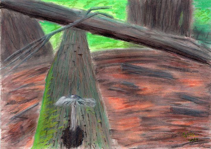 Mushroom Tree Trunk - Pastel Paper - Darkvine Art