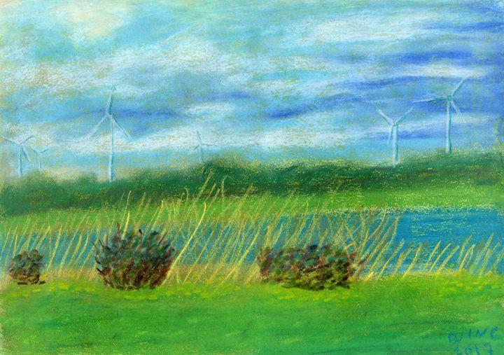 Scheldt Windmills September - Pastel - Darkvine Art