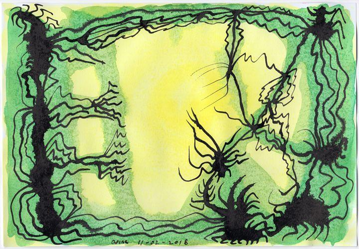 Black Ink Neural Network In Harmony. - Darkvine Art