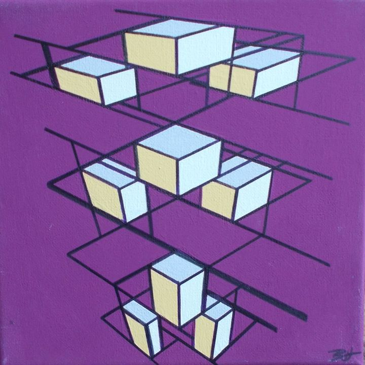 Purple and Yellow cubes - Bethany Haworth