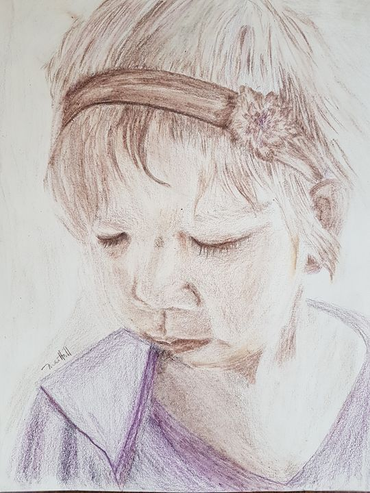 My little girl - a moment of peace - Mai Hall Art