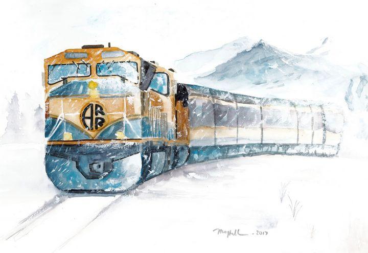 Alaskan train - on way the home - Mai Hall Art