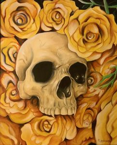 Life and death skull roses