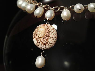 Elegant Mermaid And Pearls Necklace Dalisella Jewelry Necklaces Chains Artpal