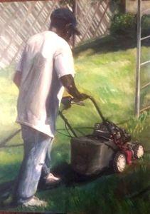 Man cutting the lawn.