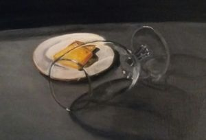 Wine Glass with cheese cracker
