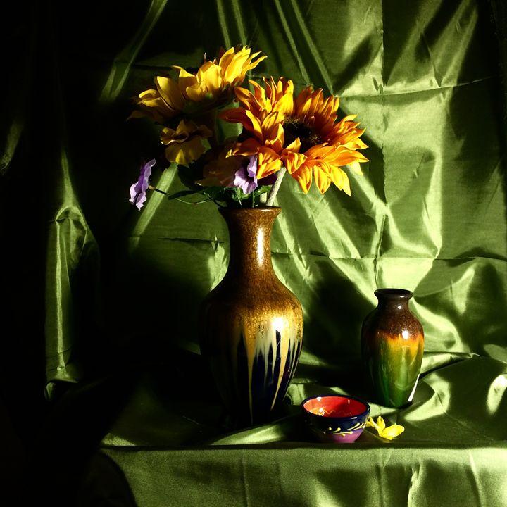 Sunflower and Pansies - Ramya Oil Paintings