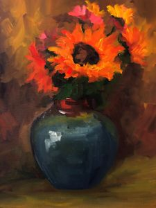 Fiery sunflowers - Ramya Oil Paintings