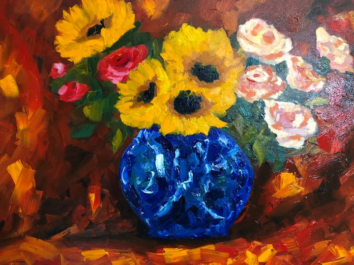 Sunflowers and Roses - Ramya Oil Paintings