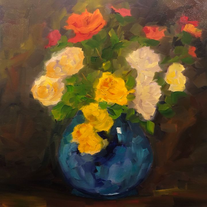 Smitten by roses - Ramya Oil Paintings
