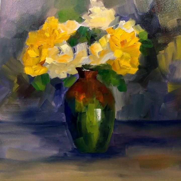 Light on roses - Ramya Oil Paintings