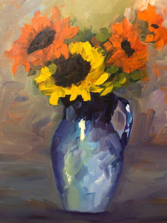 fun sunflowers - Ramya Oil Paintings