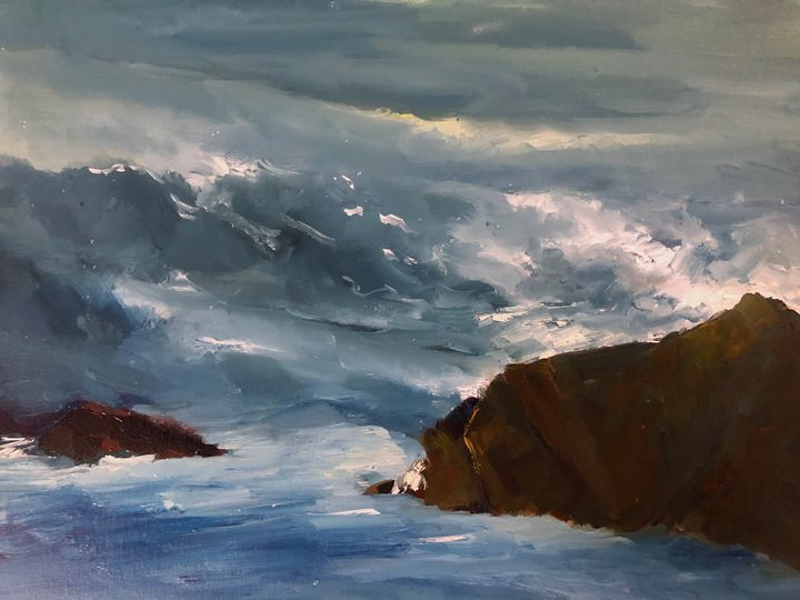 The waves are coming - Ramya Oil Paintings