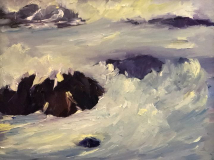 Crashing of waves - Ramya Oil Paintings