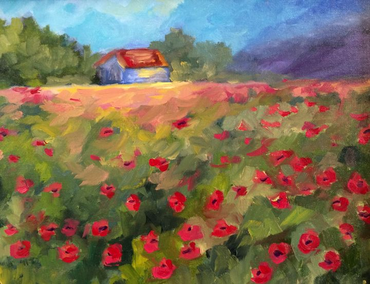 Poppy fields - Ramya Oil Paintings