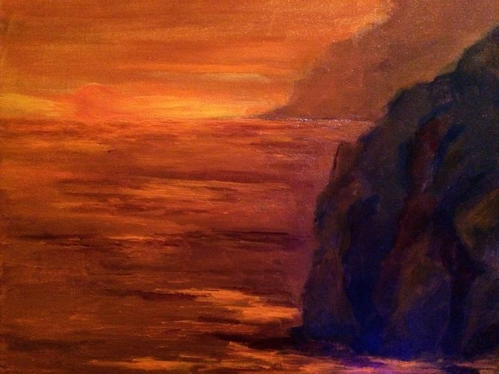 Orange lines - Ramya Oil Paintings