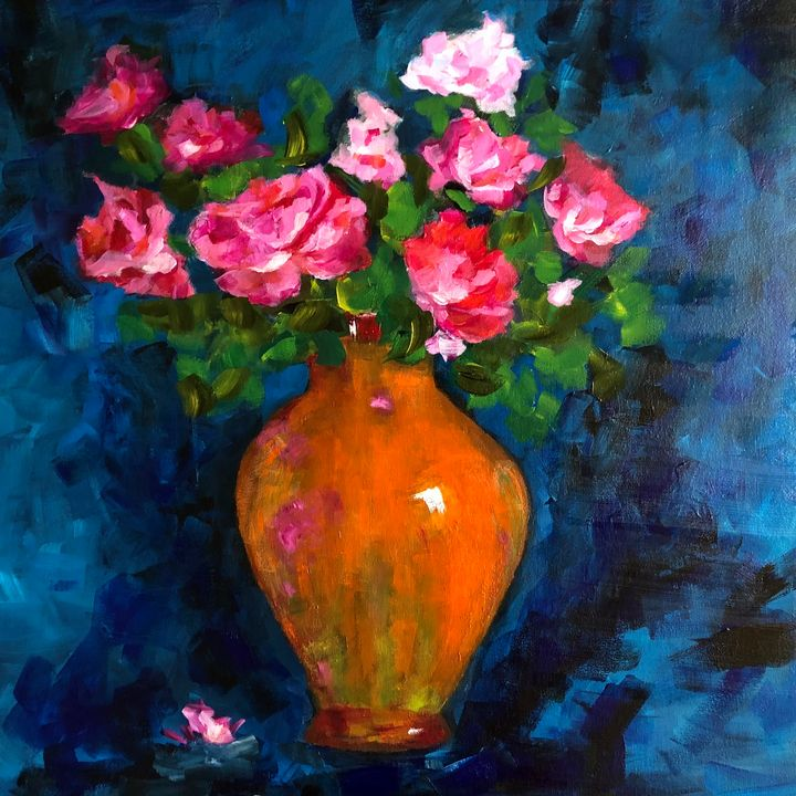 Roses a bunch - Ramya Oil Paintings
