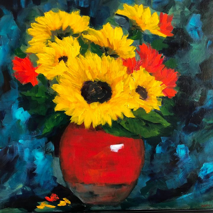 Sunflowers a closeup - Ramya Oil Paintings