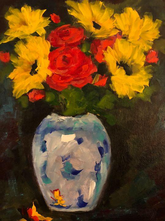 Rose Sunflowers - Ramya Oil Paintings