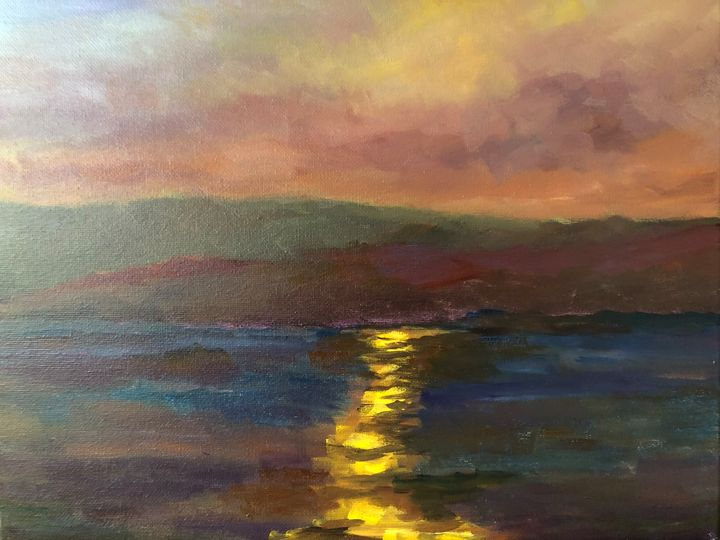 Light over half moon bay - Ramya Oil Paintings