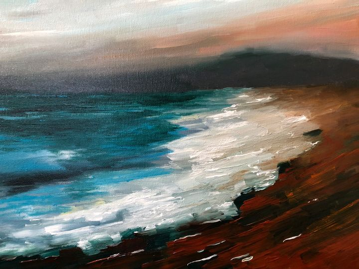 Wet Sands off of Half Moon Bay - Ramya Oil Paintings