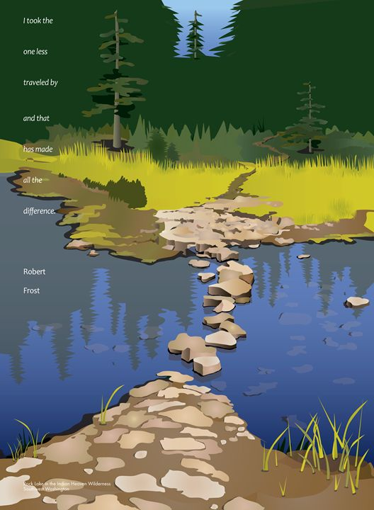 Rock Lake with Robert Frost quote - Christine Rains