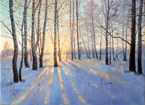 beautiful sunshine on snowfield