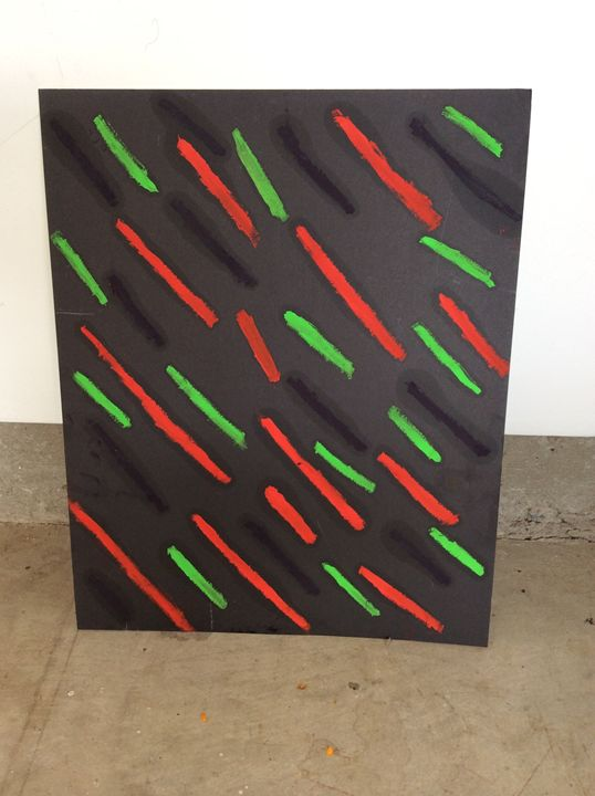 Black heart with green lines stripes - Abstract art by j valentine