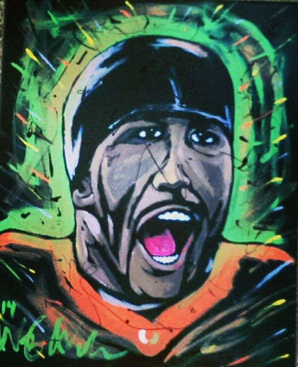 Ray Lewis 16x20 Painting - WesleyWalkerFineArt