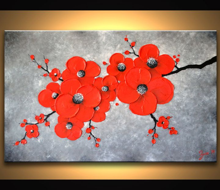 Red Abstract Flower Painting - ZarasShop
