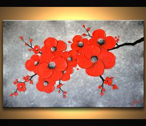 Red Abstract Flower Painting