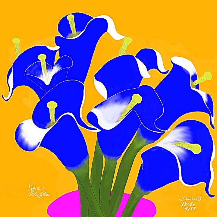 Blue Calla Lilies - DigitalNana