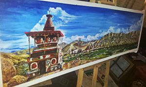 acrylic painting of nepal