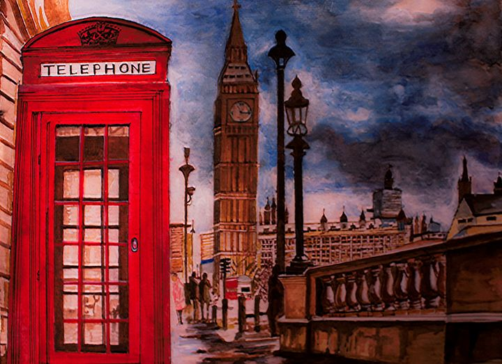 RAINING LONDON   Original Watercolor - KashiKa