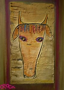 Goat face on canvas