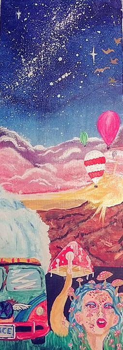 Psychedelic hippie van painting - XCIERRAJADEX