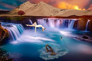 Waterfall swimming ground
