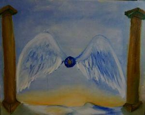 Angel wings blue pearl