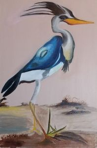 Blue and White Crane