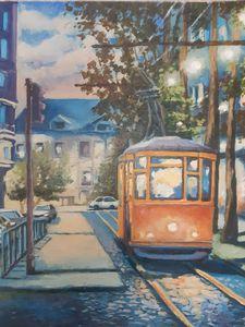 The night Tram in Lisbon