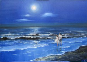 Walking under moon.